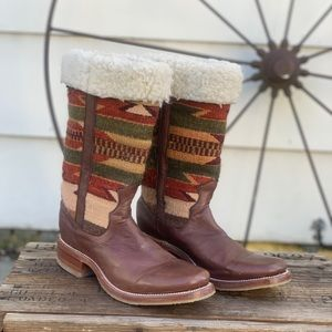 Stetson Aztec blanket fleece lined cowboy boots